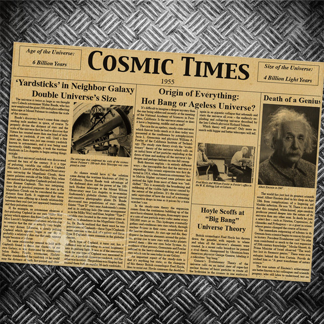 96b2ac49716966 COSMIC TIME NEWSPAPER Einstein Vintage Retro poster wall old sticker  ancient print picture living room painting for bar cafe