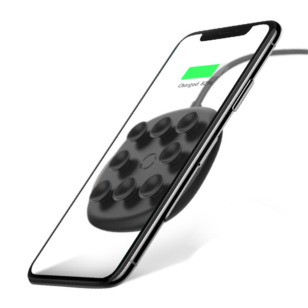 10W Ultra Thin wireless charger Fast Charging For iPhone X Xs XR Xs Max Suction Cup Wireless Charger For Samsung Xiaomi HUAWEI in Mobile Phone Chargers from Cellphones Telecommunications
