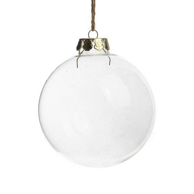christmas ball 100mm clear glass ornament balls 4 silver tops wedding - Glass Christmas Balls
