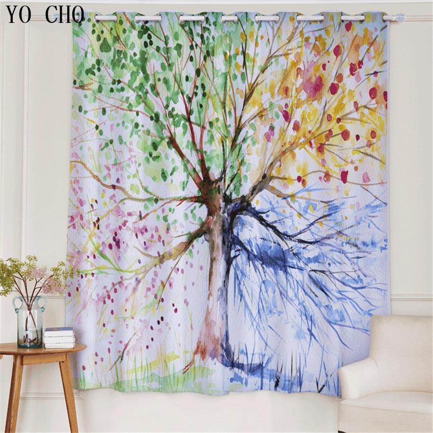 YO CHO Skizze landschaft mode stil baum blackout rideaux vorhänge ...