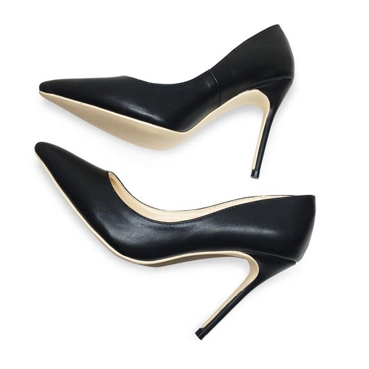 De las mujeres de la moda Zapatos de tacón alto delgados sexy bombas de las mujeres del dedo del pie puntiagudo trabajo zapatos de fiesta
