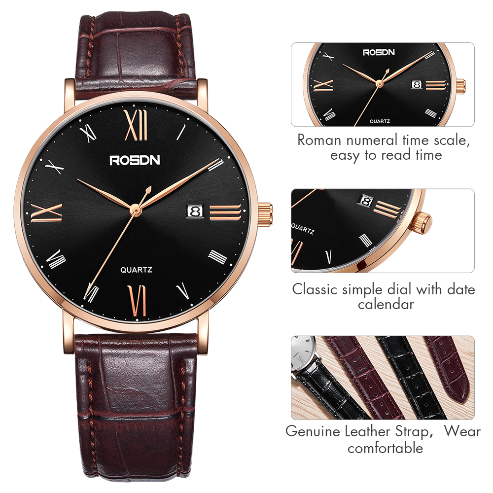 Men's Watches Watch Men Relogio Masculino Quartz Watches Men Watch Roman Numeral Case Synthetic Leather Strap Wrist Watch Elegant And Sturdy Package