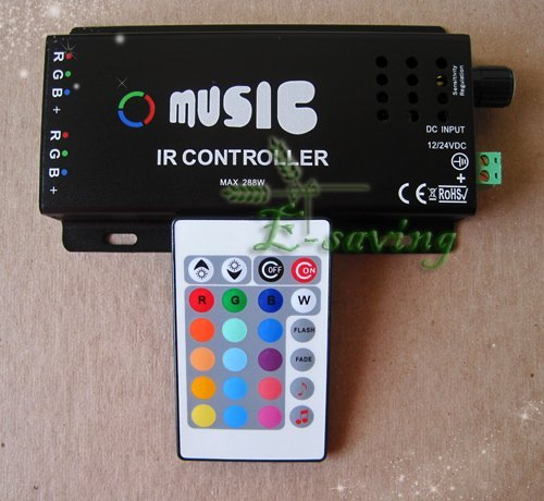 RGB IR - CONTROLLER  Audio & Music for led strip DC12v 10A  +free shipping