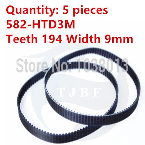 10pcs/lot HTD3M timing belt 582 HTD3M rubber belt Length 582mm Width 9mm Teeth 194 Industrial belt drive belt