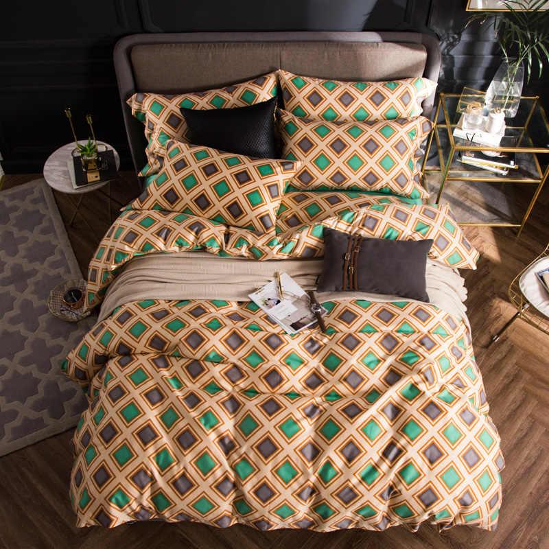 2018 Зеленые Серые постельные пледы набор 4 шт Королева Король Размер Египетский хлопок пододеяльник плоский лист наволочки