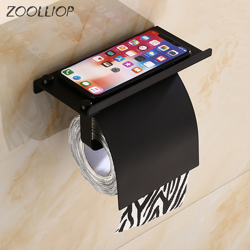 Concise Wall Mount Toilet Paper Holder Bathroom 4 Color Fixture Stainless Steel Roll Paper Holders with Phone Shelf With baf