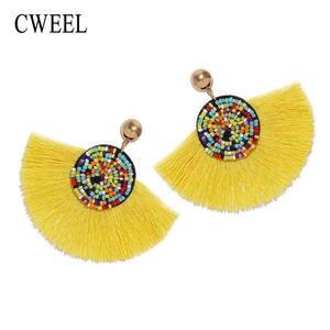103928c37777b7 CWEEL Tassel Earrings for Women Long Dangle Wedding Korean