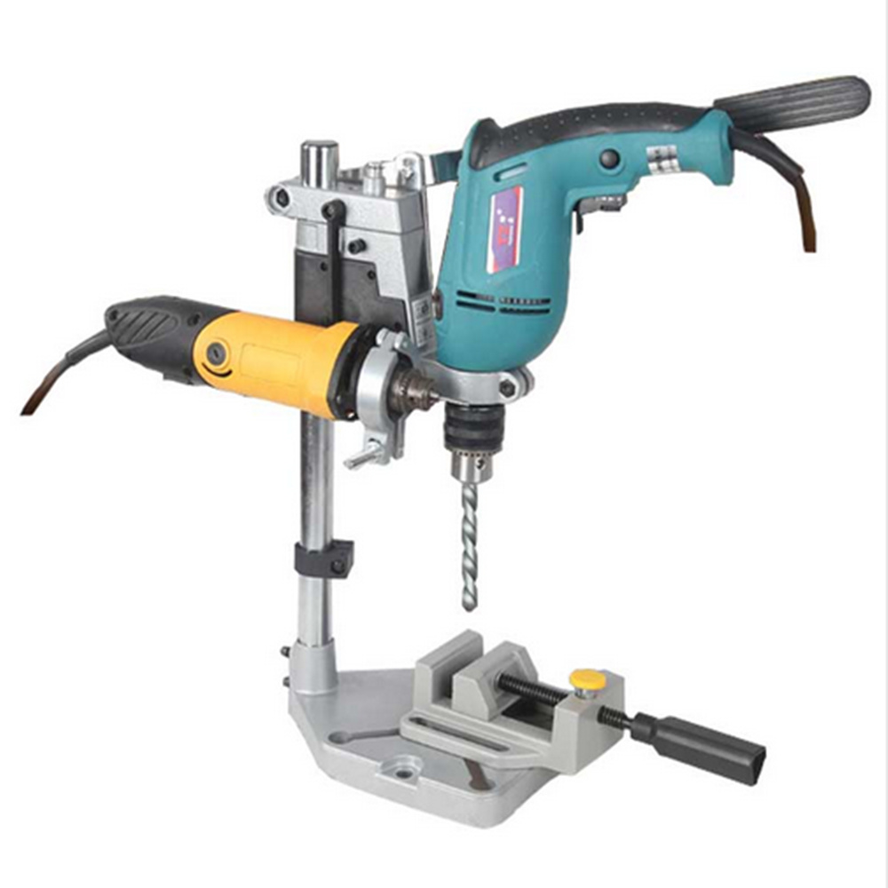 Electric Drill Stand Power Rotary Tools Accessories Bench Drill Press Stand DIY Tool Double Clamp Base Frame Drill Holder