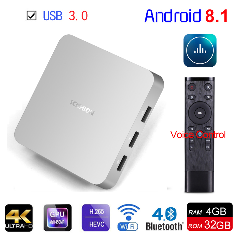 Android 8.1 Smart TV BOX AI ONE RK3328 Quad Core RAM 4GB ROM 32GB 2.4G WIFI BT4.0 H.265 USB3.0 4K Set Top Box With Voice Control цена 2017