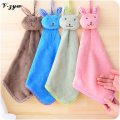 Nursery Hand Towels Soft Plush Fabric Cartoon Animal Wipe Hanging Bathing Towel for Kid Cute Rabbit Absorbent Face Towel YS056