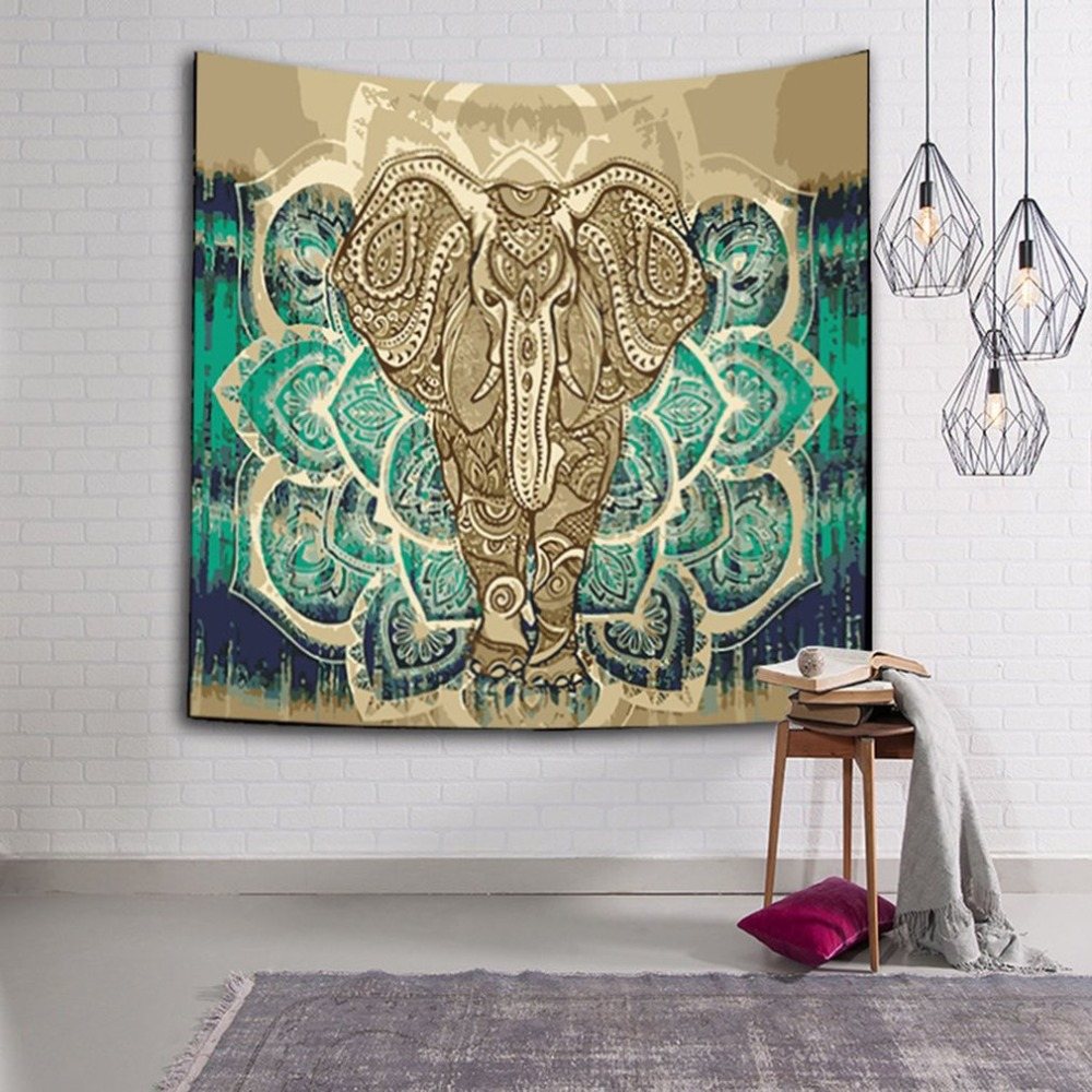 60*40 3D Digital Printing Indian Elephant Tapestry Tapestry Wall Hanging Bedspread Throw Hippie Boho Decoration