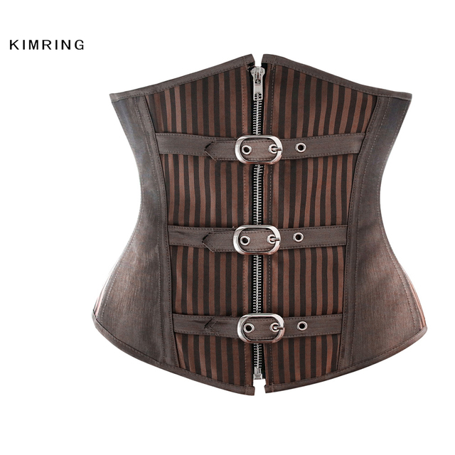 Kimring Women's Gothic Steampunk Corset Steel Boned Underbust Corsets and Bustiers Shapewear Waist Trainer Cincher Corselet