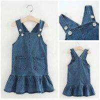 2017 Autumn Girl Dress Denim Blue Jeans Dress Toddler Baby Girl Outwear Children Clothing Brand Kids