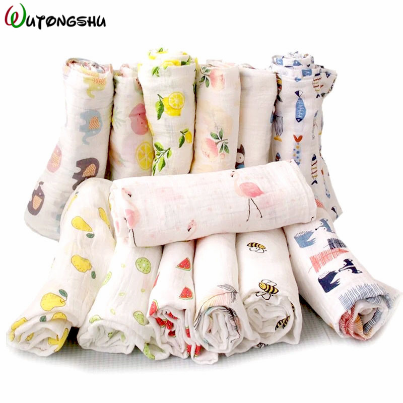 Organic Cotton Swaddle Blanket Flamingo Print Muslin Baby Blankets Infant Swaddle Towel For Newborns Baby Wrap Kids Bed Sheet printed knitted baby blanket kids adults infant throw knit blankets bed cover plaids sofa towel blanket size 110 130cm