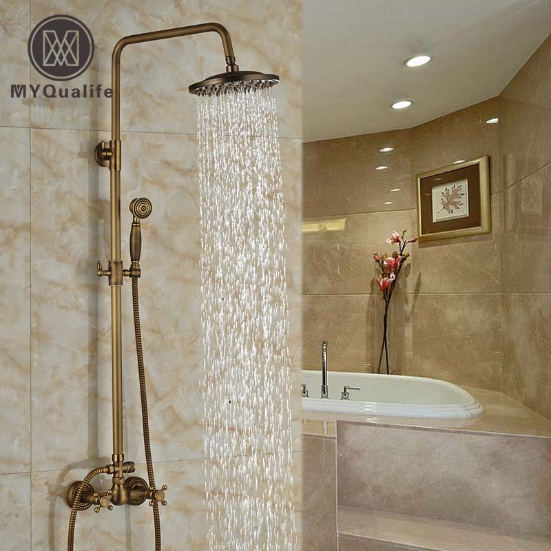 Dual Handle Wall Mount Brass Shower Mixer Faucet 8 Rainfall Shower Hot Cold Tap with Handheld Shower bathroom single handle bath shower mixer faucet wall mount 8 rainfall exposed shower mixer height adjustable antique brass