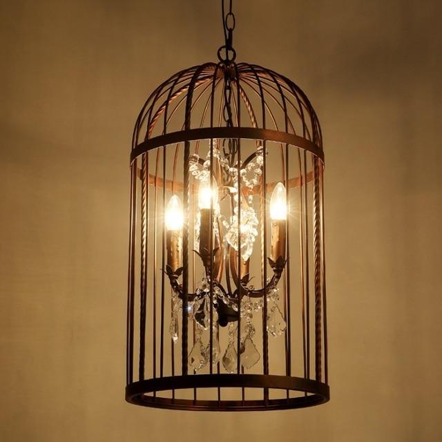 Vintage Birdcage Crystal Chandelier Restoration Ceiling Lamp E14 Light 4 Bulb Antique Rusty Loft Style 13 7