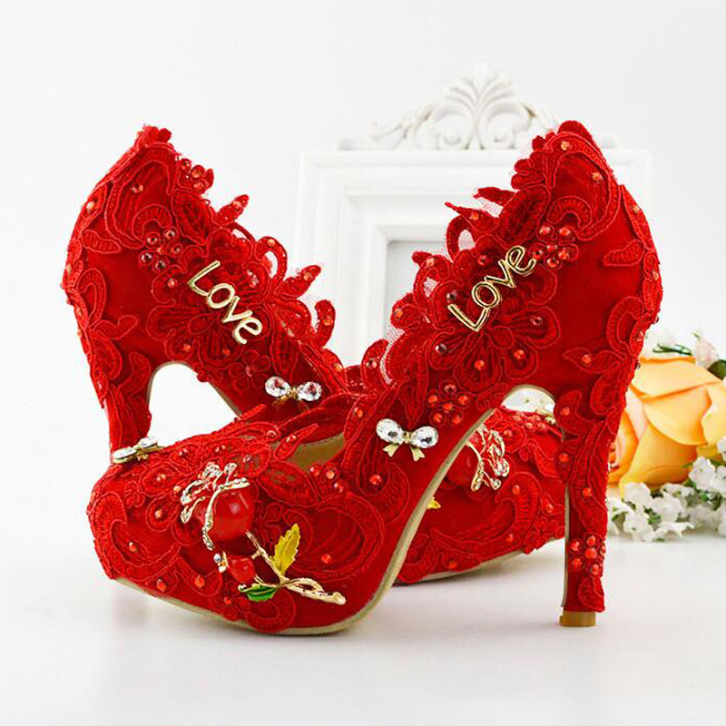 2017 Latest Beautiful Red Lace Bridal Dress Shoes Women Pumps Fashion Handmade Bridesmaid High Heel Adult Ceremony Party Shoes