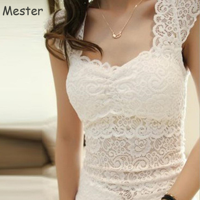 aff572c1086 Women Elegant Lace Tank Top Black White Floral Lace Camisole Tops Fashion  Summer Sleeveless Blouse Shirt Sexy Camisa Vest Blusas