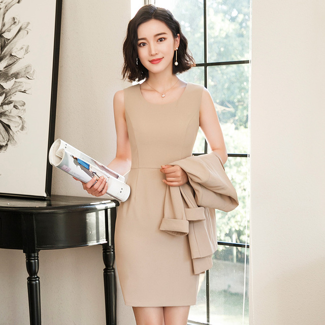 AidenRoy 2018 Ol Office Lady Women Business Single Dress Work Uniform Temperament Sleeve Blazer + Dress Suits Formal Dress Suit