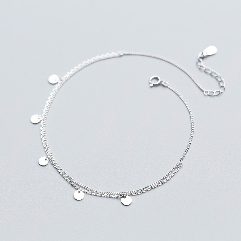 925 Sterling Silver Anklets For Women Simple Two Layers Round Charm Foot Chain Ankle Bracelets Barefoot Beach Summer Jewelry