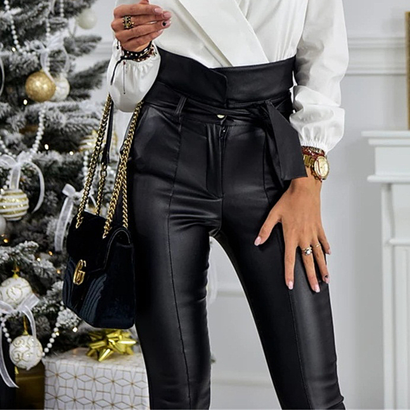 InstaHot Gold Black Belt High Waist Pencil Pant Women Faux Leather PU Sashes Long Trousers Casual Sexy Exclusive Design Fashion 13