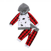 Christmas Newborn Baby Boys Girls Reindeer Hooded Tops Red Plaid Pants 2Pcs Outfits Kids Clothing Set 0-24M