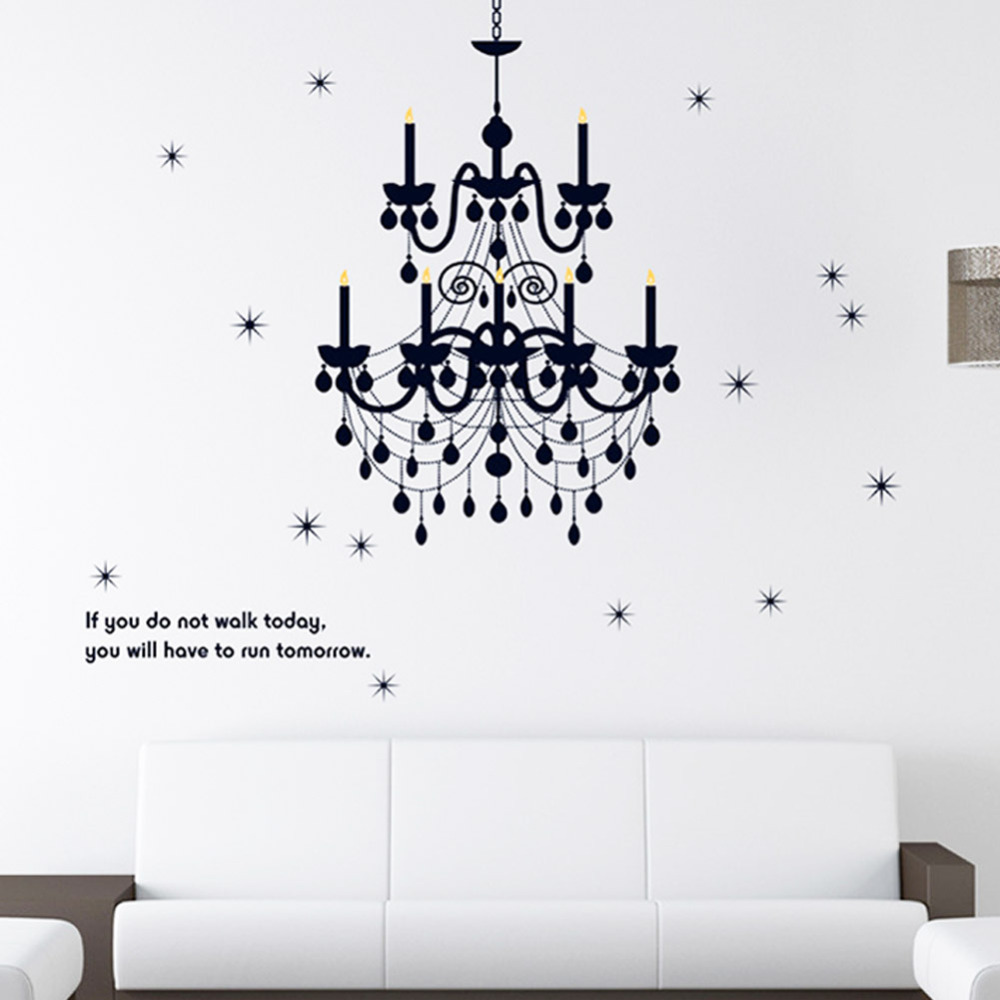 Grand Chandelier Light Fancy Stars Home Decals Wall Stickers Vinyl Art Words Quote Art Bedroom Classy Girls Room Decor Poster