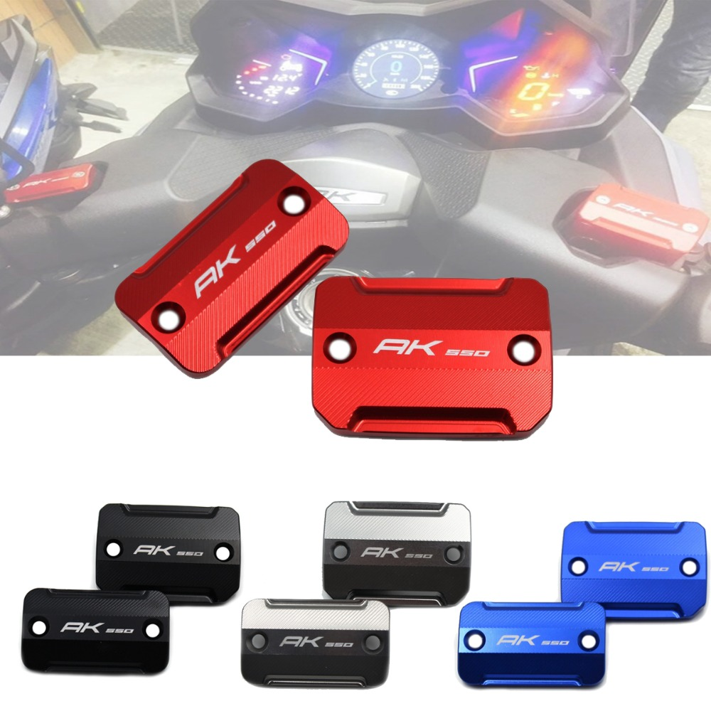 One Pair CNC LOGO Front Brake Fluid Reservoir Cover Caps Front Brake Reservoir Cover Cap For KYMCO AK550 KYMCO AK 550 2017 2018