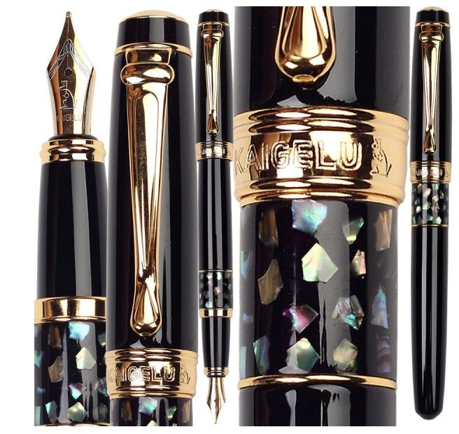 Fountain Pen Mosaic Shells 3 colors to choose Kaigelu 335  office school stationery FREE  SHIPPING italic nib art fountain pen arabic calligraphy black pen line width 1 1mm to 3 0mm