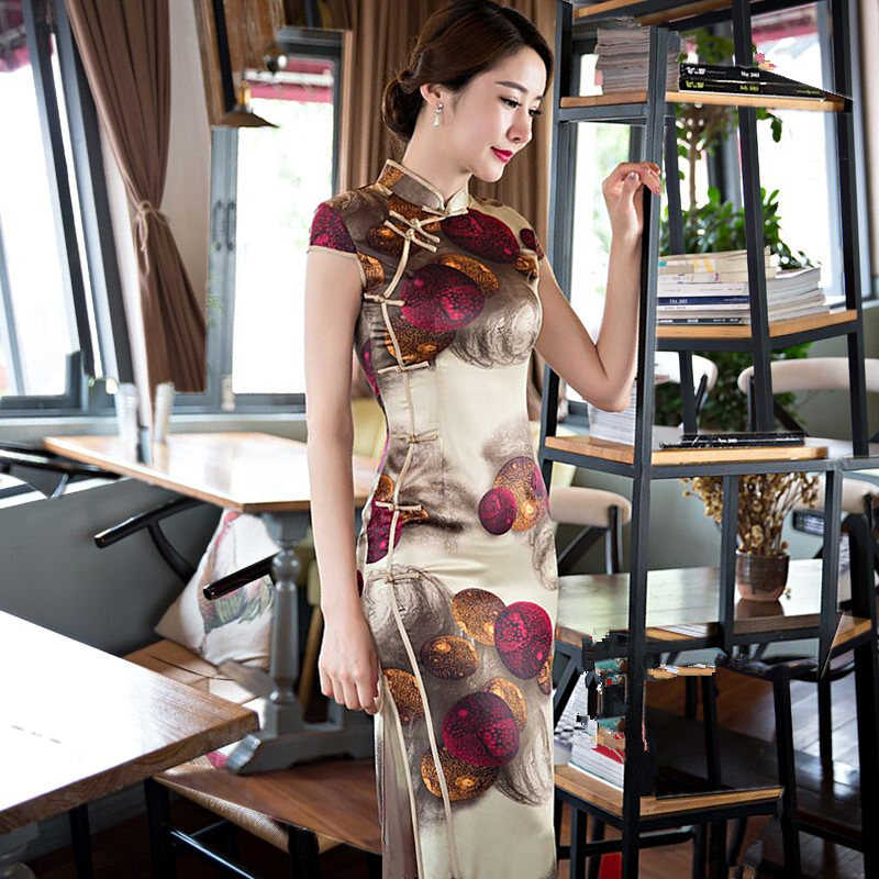 Classic Ladies Silk Satin Long Cheongsam Hot Sale Traditional Chinese Style Qipao Dress Clothing Size S M L XL XXL XXXL 368582 hot sale creative style s size women s hair tool