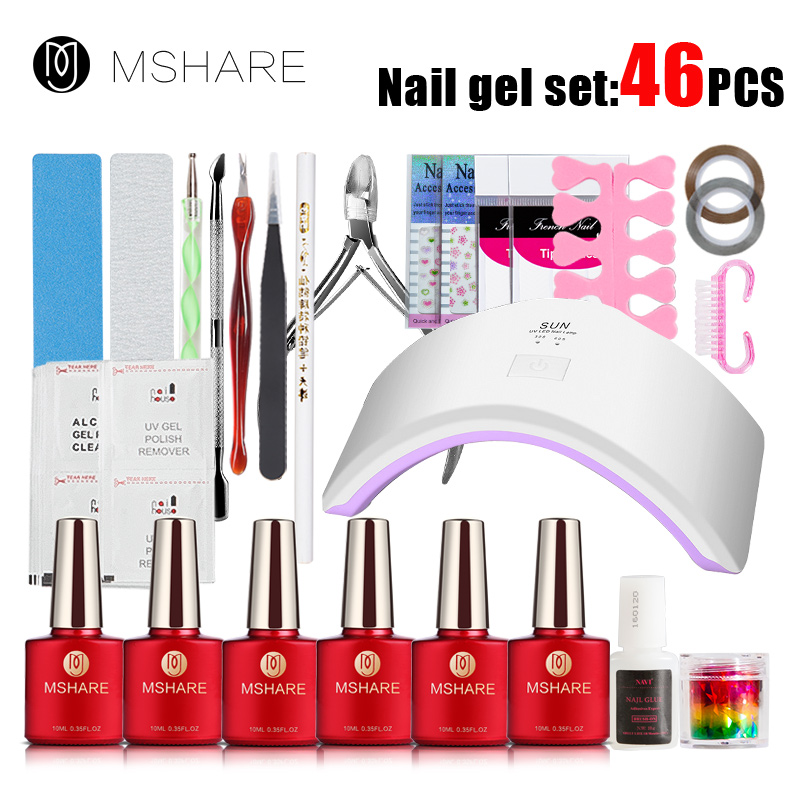 MSHARE 46Pcs Full Nail Art Tools Cure 18W UV Lamp Gel Polish Soak Off Base Coat Top Coat Gel Nail Nail Manicure Kits Nail Tool nail art tools manicure sets 18w uv lamp nail dryer 6 colors soak off gel nail polish top gel base coat nail kits
