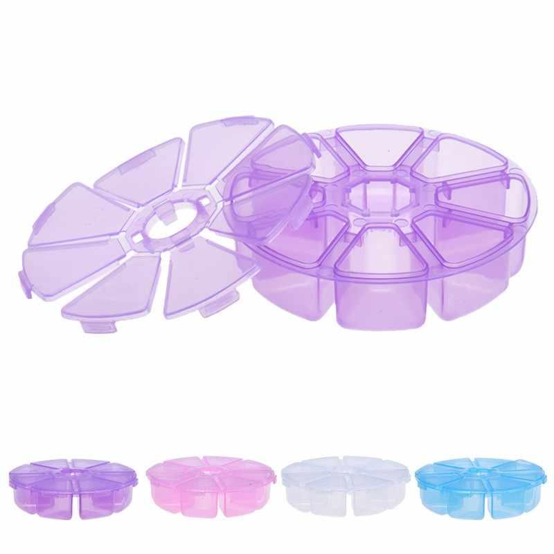 מיני 8 רשתות תא נייל אמנות אבני חן ריינסטון פלסטיק תיבת עגול תיבת אחסון מקרה תכשיטי חרוז איפור ארגונית 4 צבעים