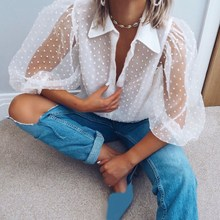 цены на Summer Casual Polka Dot Button See Through Blouse Sexy Puff Sleeve Shirts Elegant White Semi Transparent Office Ladies Blouse  в интернет-магазинах