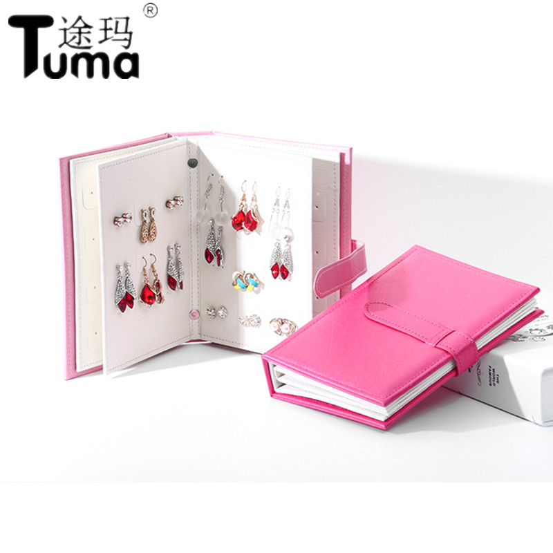 2019 Pu Leather 42 Pairs Stud Earrings Collection Jewelry Book  Portable Jewelry Page Jewel Display Creative Jewelry Storage Box little book of earrings