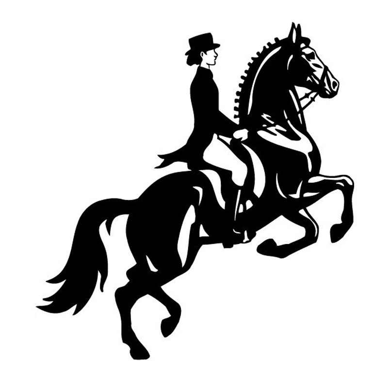 13,4 cm * 14,3 cm mujer caballo de carreras de moda coche-estilismo pegatina de coche negro/plata S3-6441