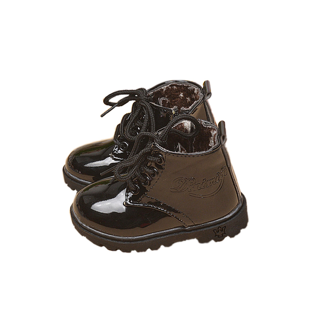Hot Sale Children Shoes PU Leather Waterproof Martin Boots Kids Snow Boots Brand Boys Rubber Boots Fashion Girls Sneakers 2