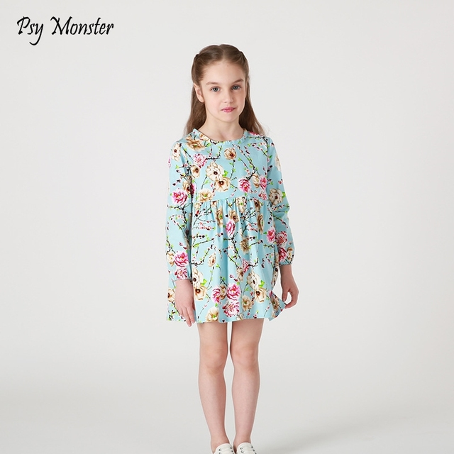 aad0d3c8ee PSY Potwór Dziewczynek Wiosna Kwiat Sukienki Dzieci Bawełna Plisowana  Księżniczka Sukienka Z Długim Rękawem Casual Ubrania