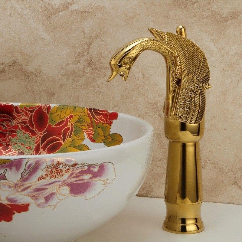 Copper plated high little swan water tap Vintage Swan bathroom faucet Tall European basin faucet Golden faucet LH-8145