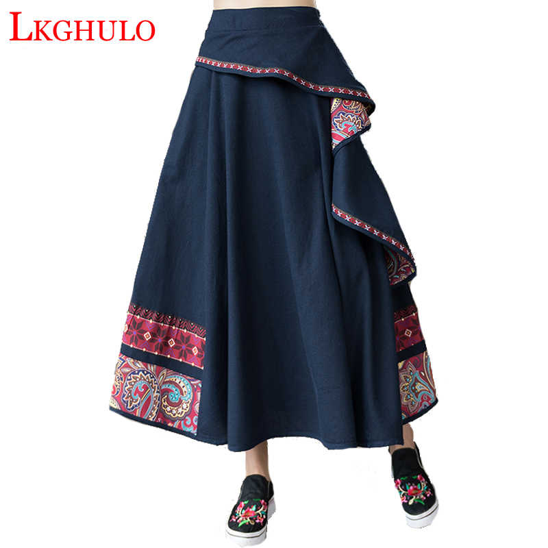Cotton And Linen Embroidery Women Skirt Ethnic Style High Waist Patchwork Skirts Womens Vintage Midi Mori Girl Skirts A559