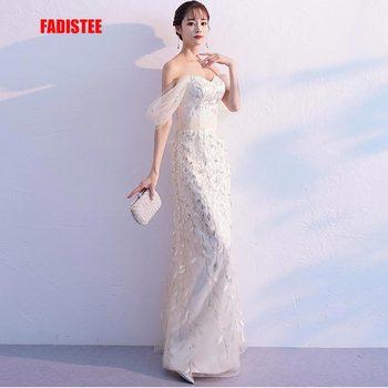 FADISTEE 2019 New arrival classic party dress evening dress Vestido de Festa elegant leaves lace gown long mermaid style