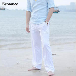 Faroonee Summer Casual Cotton Linen Trousers Man's Pants