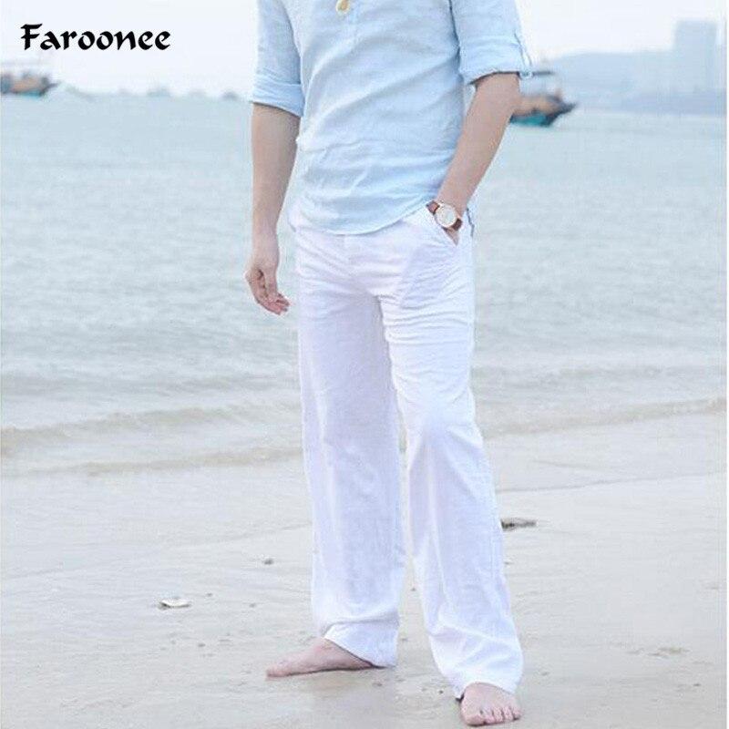 Faroonee новые высококачественные мужские летние повседневные брюки натуральный хлопок льняные брюки Белый лен эластичный пояс прямые человека брюки