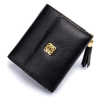 New Genuine Leather Female Wallet Summer Mini Short Wallet Cute Tassels Version Of The Small Fresh