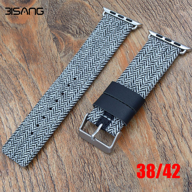 38mm/42mm Canvas Leather Premium Soft Genuine Watch Band For Iwatch Leather Replacement Strap Classic Buckle for Apple Watch woven canvas casual sports watch band iwatch strap genuine leather watch belt for apple watch