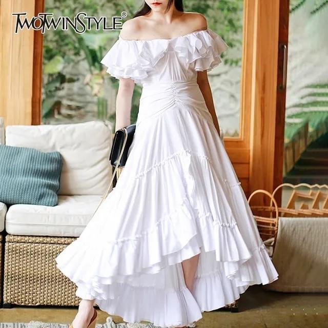 TWOTWINSTYLE Party Dress For Women Slash Neck Ruffles Sleeve High Waist Large Size Asymmetrical Dresses Female Fashion 2019