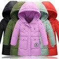 Дети зимние куртки для девочек 2017 новый средней длины конфеты цвет девушки зимнее пальто сгущать теплый с капюшоном детские зимние down5-11T