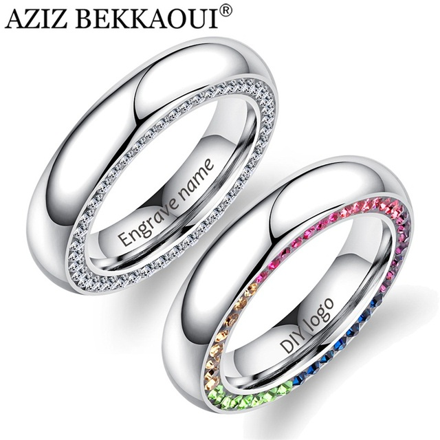 AZIZ BEKKAOUI DIY Multicolor Cubic Zirconia Ring Engrave Name Rings for Women Co