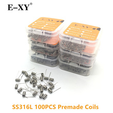 E-XY 100pcs/Pack SS316L Coil Wire Coiling Prebuilt Coil Resistance Electronic Cigarette Heating Wire for DIY RDA RTA Atomizer