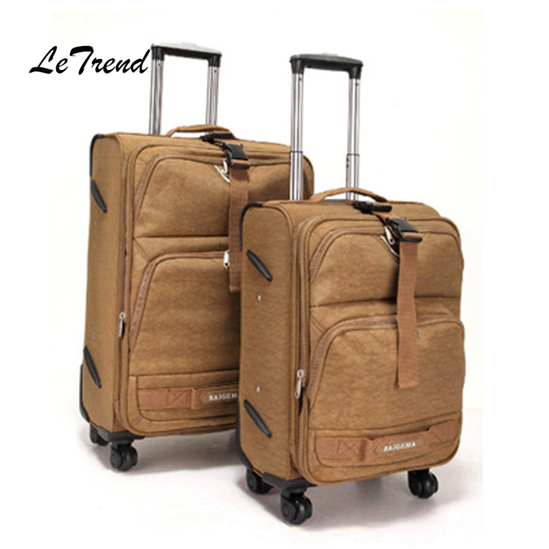 Letrend Men Oxford Rolling Luggage Spinner Business Trolley Women Multifunction Travel Bag 20 inch Carry On Wheel Suitcases