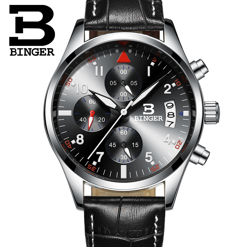 ФОТО 2015 New Men Fashion Wristwatches Luxury Famous Brand Quartz MOVT CHRONOGRAPH Military Leather Sports Watch Relogio Masculino